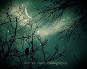 Stardust, Fine Art Photograph, Nature, 8x10, Owl, Moon, Starry Night, Trees, Whimsical, Magical, Surreal, Green, Photo, Art, Wall Decor