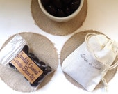 Reserved. Chocolate Espresso Bean Wedding Favors. Love is Sweet. Set of 17 with custom stamp.