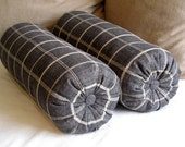 7x22 PAIR rustic chic casual and very french laundry bolster pillows black with tan stripes