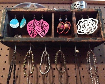 Upcycled Jewelry Organizing Display (Wood Cubby Drawer)