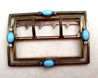 Victorian belt buckle gold tone metal with faux turquoise sash buckle Victorian buckle (25)