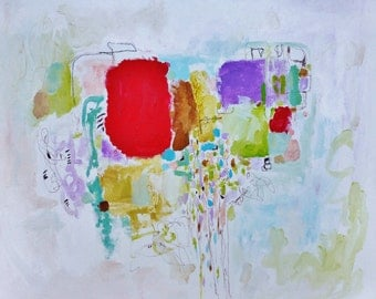Sale- Bonne Heure - Mixed Media Original Painting- 20x16- Fresh, Vibrant, Abstraction