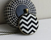 Black Chevron Jewelry, Black, White, and Gold Brass, Black Chevron Necklace Geometric Jewelry Chevron Pendant Black And White Jewelry