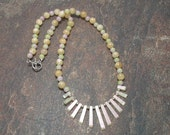 Calcite And Glass Beaded Fan Necklace