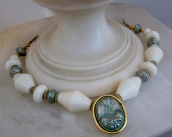Art Deco White Lucite & Green Peking Glass Scarab Necklace, Unusual