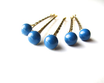 Dazzling Blue Hair Pins Set Swarovski 8mm, Something Blue