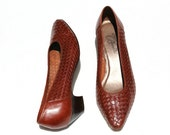Vintage Rafael Blantini Antique Brown Distressed Leather Weave Classic Dress Shoes Sz 7 1/2