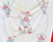 BABY BLANKET cute Circus Animal Motif Clowns Hand Sewn Embroidery RED trim 1940s 1950s
