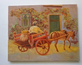 Vintage original oil, boy in cart with donkey, unframed, 16 by 20 inches