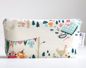 make up bag. small wet bag. cosmetic bag. waterproof. bag. folk art inspired. organic cotton.