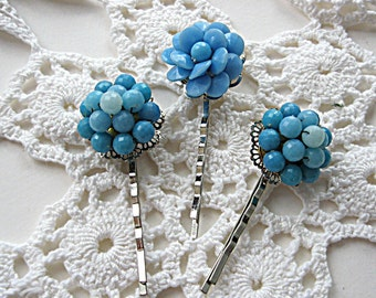 Blue beaded vintage earring bobby pins, vintage jewelry hair pins, blue floral bobby pins, bridesmaid hair pins, prom