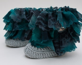 Light Grey And Teal Chiffon Ruffle Baby Crochet Boots- Choose Your Size