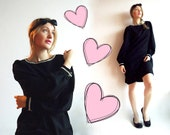 GLaM WOoL Vtg Lbd Dress with Bejeweled Neckline and Cuffs Billowed Sleeves Sparkly Jewels Buttons in Fine Black Wool Size L or XL