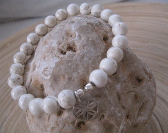 White Beaded Bracelet, Flower of Life Bracelet, Mala Bracelet, Flower of Life, Layered Jewelry, Genuine Howlite Beads, Flower Charm