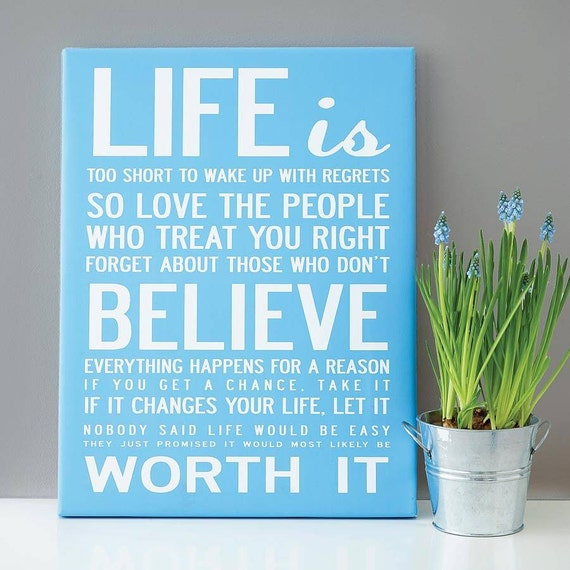 Life is too short.... Motivational and inspiration life print. A3, 29.7 x 42 cm poster.