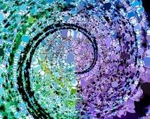 infinite fibonacci - fyne/fine art print square magical trippy wall poster/picture - spiralling vortex - tidal wave - unique abstract art