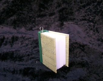 Hand-bound Book Necklace - Green Script