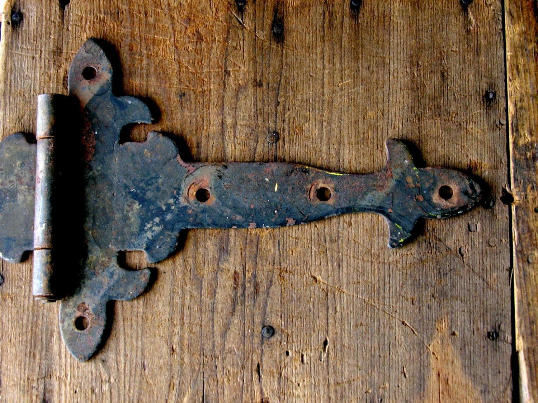 Antique Strap Hinges Pair Vintage Gothic Style Iron Hardware