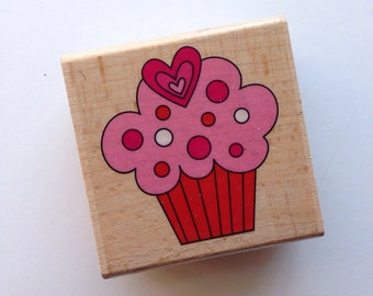 Heart Cupcake Rubber Stamp  // Brand New