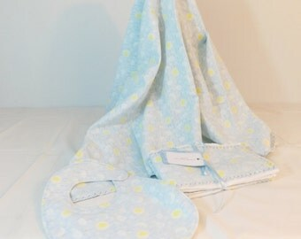Layette Set Flannel Blanket, bib and burp cloths set blue moons print