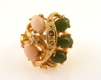 Vintage Coral and Jade Ring Cocktail Statement Cluster