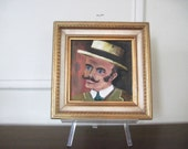 the Southern Gentleman, vintage oil painting in ornate frame - portrait, Rhett Butler, art, original