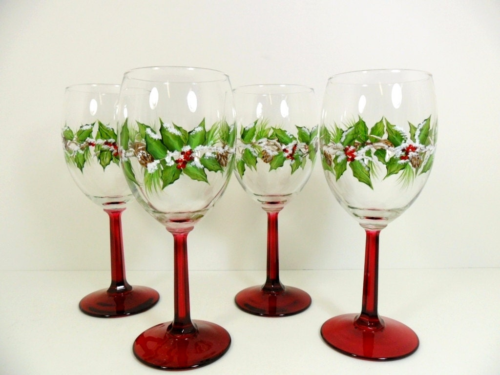 Snow covered christmas holiday wine glasses holly berries hand for Holiday stemware