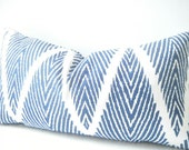Navy Blue and White Pillow, Blue Ikat Pillow Cover, Nautical Pillow, Blue Chevron Pillow, Blue White Cushions, Blue Pillows, Lumbar 12x22