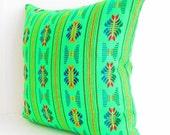 Green Pillow, Tribal Pillows Covers, Colorful Pillow Covers, Bohemian Decor, Boho Bedding, Mexican Cushion, Square, tribal pillowcase