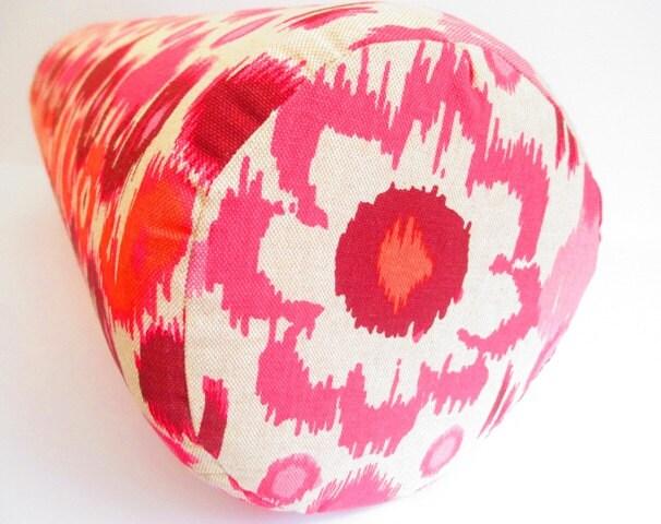 CUSTOM Large Pink Bolster Pillows Ikat Bolster Pillow Large