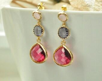 Three tier earrings, Fuschia Pink and Tanzanite Purple Gold Drop Bezel Set Earrings, Dangle,Bridesmaids Earrings,Wedding jewelry