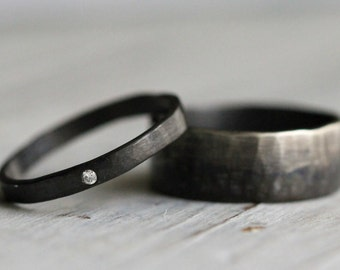 His & Hers Promise Rings Couple Ring Set Personalized Silver Ring Set. White Diamond Modern Engagement Ring, Silver Wedding Band R001