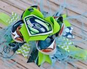 Football Hair Bow, Seattle Seahawks