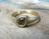 Gold Engagement Ring - Diamond Ring - Pear Diamond Ring - Diamond Engagement Ring - Gold Ring - Brown Diamond Ring - One Of a Kind