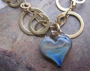 hand blown blue gold glass heart on loopy gold chain - the imani necklace
