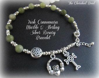 Irish Celtic Connemara Marble & Sterling Silver Rosary Bracelet with Claddaugh Charm and Irish Cross