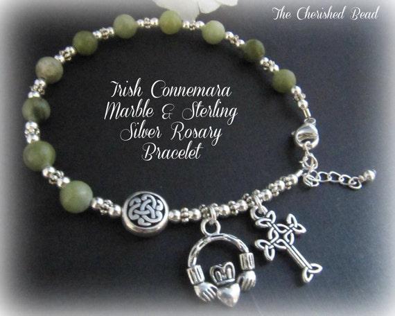 Irish Celtic Connemara Marble Amp Sterling Silver Rosary