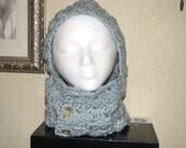 Hand crochet hooded cowl/neck warmer-seafoam