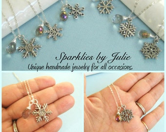 Snowflake Drop Necklaces - Choose from 6 Silver Snowflake designs, Wire Wrapped Gemstone Briolettes, Winter Wonderland Gift