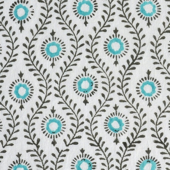 Mayura: Indian Cotton Block Print Fabric - half metre
