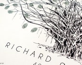 RESERVED custom design, Fingerprint Tree, Wedding Guest Book Alternative (ink pads sold separately)