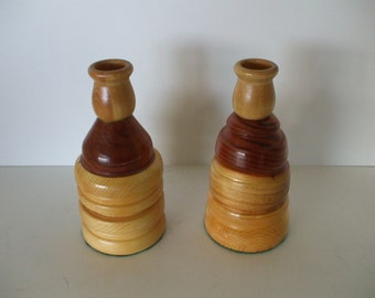 Turned Wood Multi Color Handcrafted Candle Holders,  Pair , Rustic,  Cabin,  Home Decor
