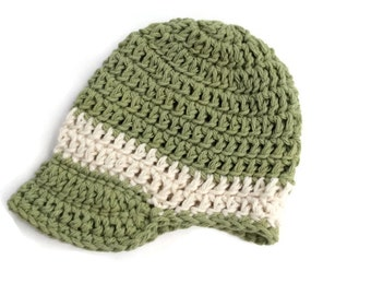 "Crocheted cotton visor beanie for baby boy ""dapper dude"" kidlid in moss green with cream trim"