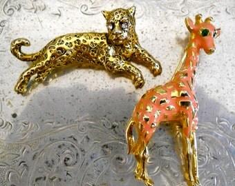 1960's Metal Enamel Animal Pins