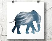 elephant silhouette in sky blue, digital silhouette art, 8x8 print cloud photography, minimalist animal art, elephant nursery decor, sky art