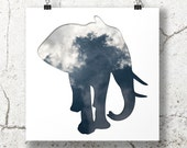 elephant silhouette in dark blue, digital silhouette art, 8x8 print cloud photography, minimalist animal art, elephant nursery decor sky art