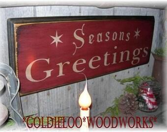 Seasons Greetings, Wood Wall Sign, Primitive, Christmas
