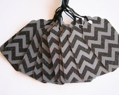 Black Glittered Chevron Gift Tags (10)