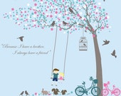 Nursery wall decals - Blowing Tree with flowers birds swing children doll bikes brother sister wall decal