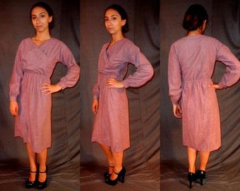 Vintage Lavander Wrap Dress - Small Medium